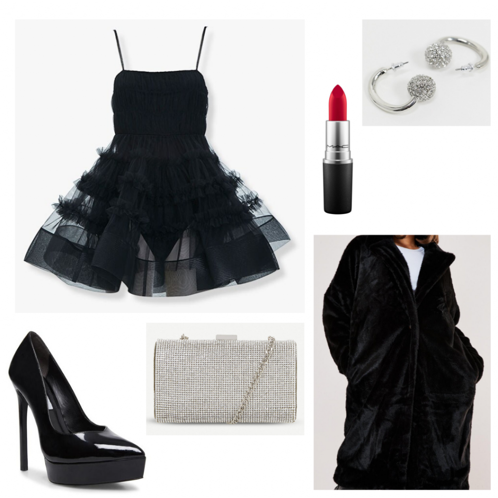 Emily in Paris little black dress outfit with tulle dress, oversized coat, pumps, glitter bag, earrings, red lipstick