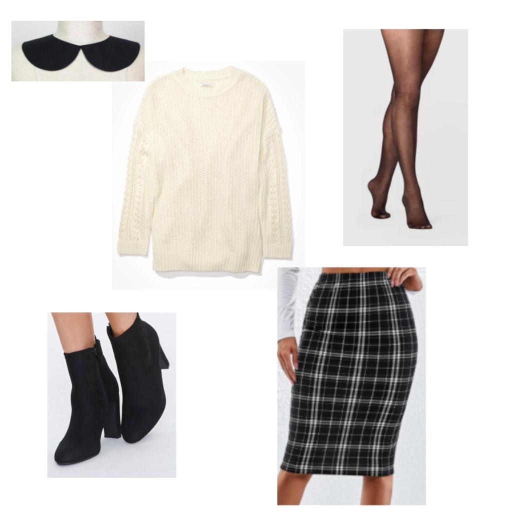 Outfit Guide 3: cream sweater, black knee-length plaid skirt, sheer black tights, black heeled booties, black collar