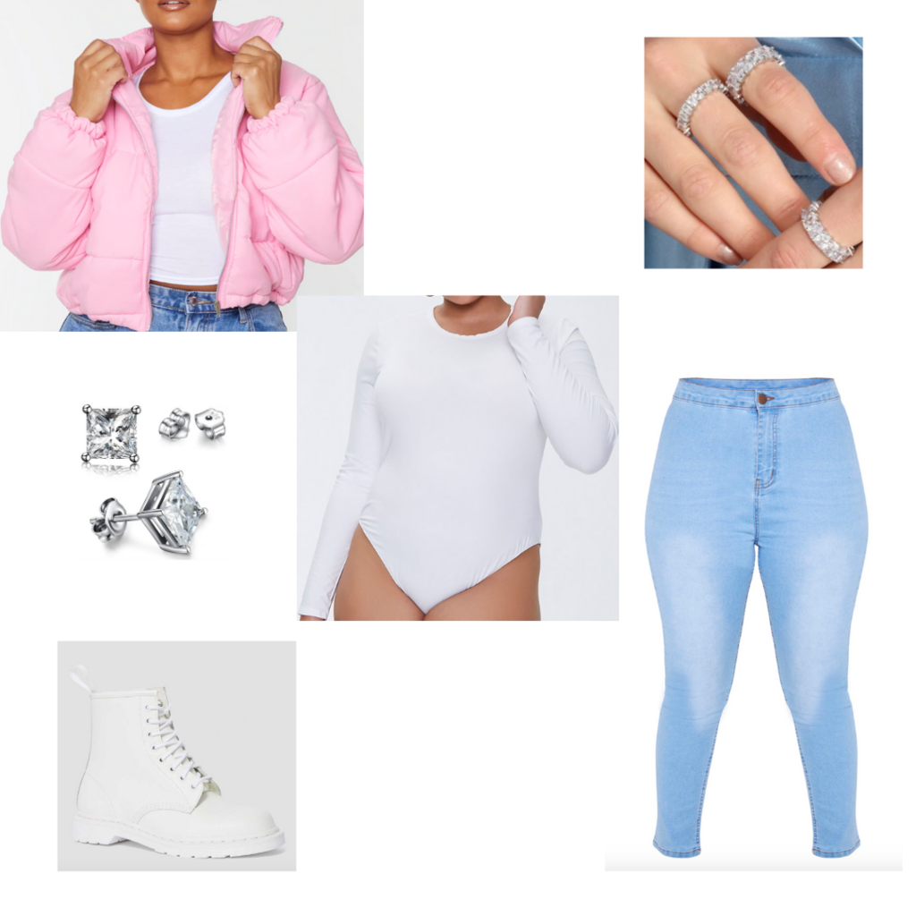 Plus size fall outfit: Light wash skinny jeans, white long sleeve bodysuit, chunky white boots, pink puffer jacket, cz jewelry