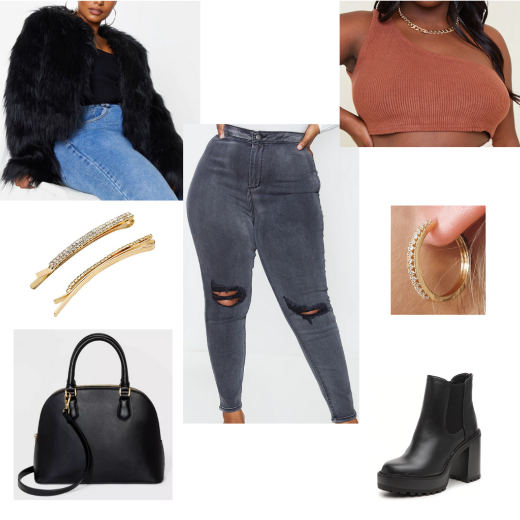 Cute plus size fall outfit #3: Ripped jeans, crop top, faux fur jacket, chunky ankle boots, barrettes, black purse