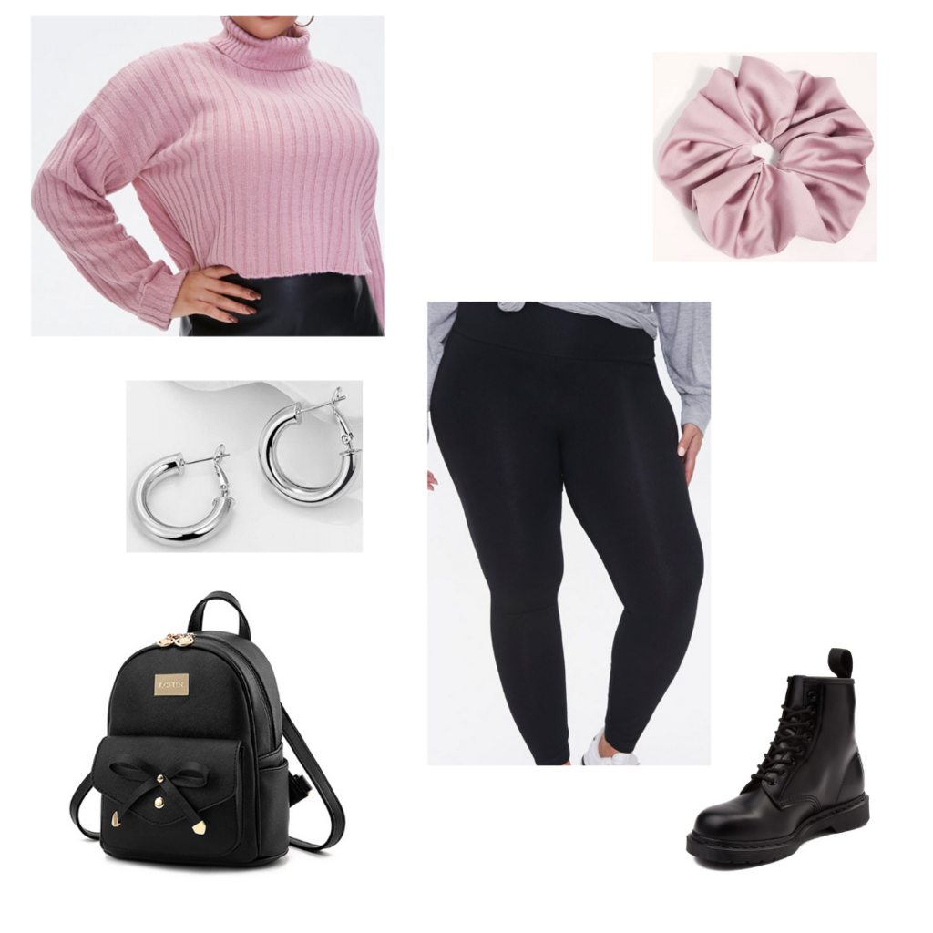 Comfy plus size fall outfit #4: pink cropped turtleneck sweater, pink scrunchie, black leggings, combat boots, mini backpack