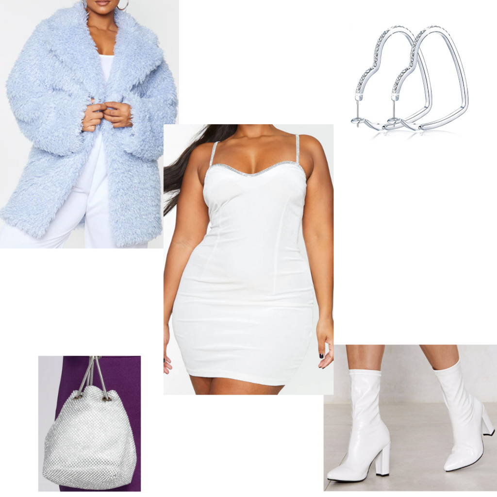 Plus size outfit for fall #5: White spaghetti strap dress, white boots, sparkle purse, blue faux fur coat