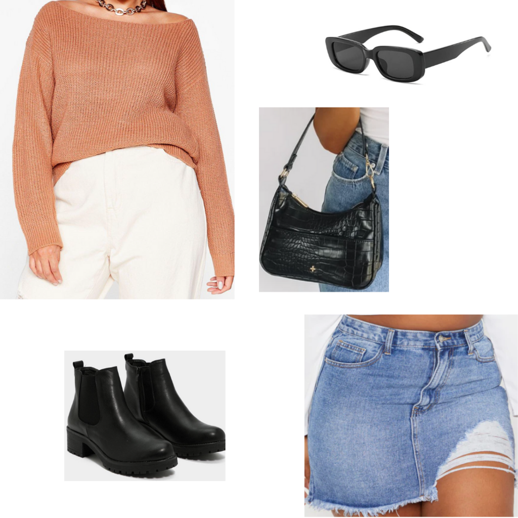 Plus size fall outfit #1 with off shoulder sweater, denim mini skirt, ankle boots, sunglasses