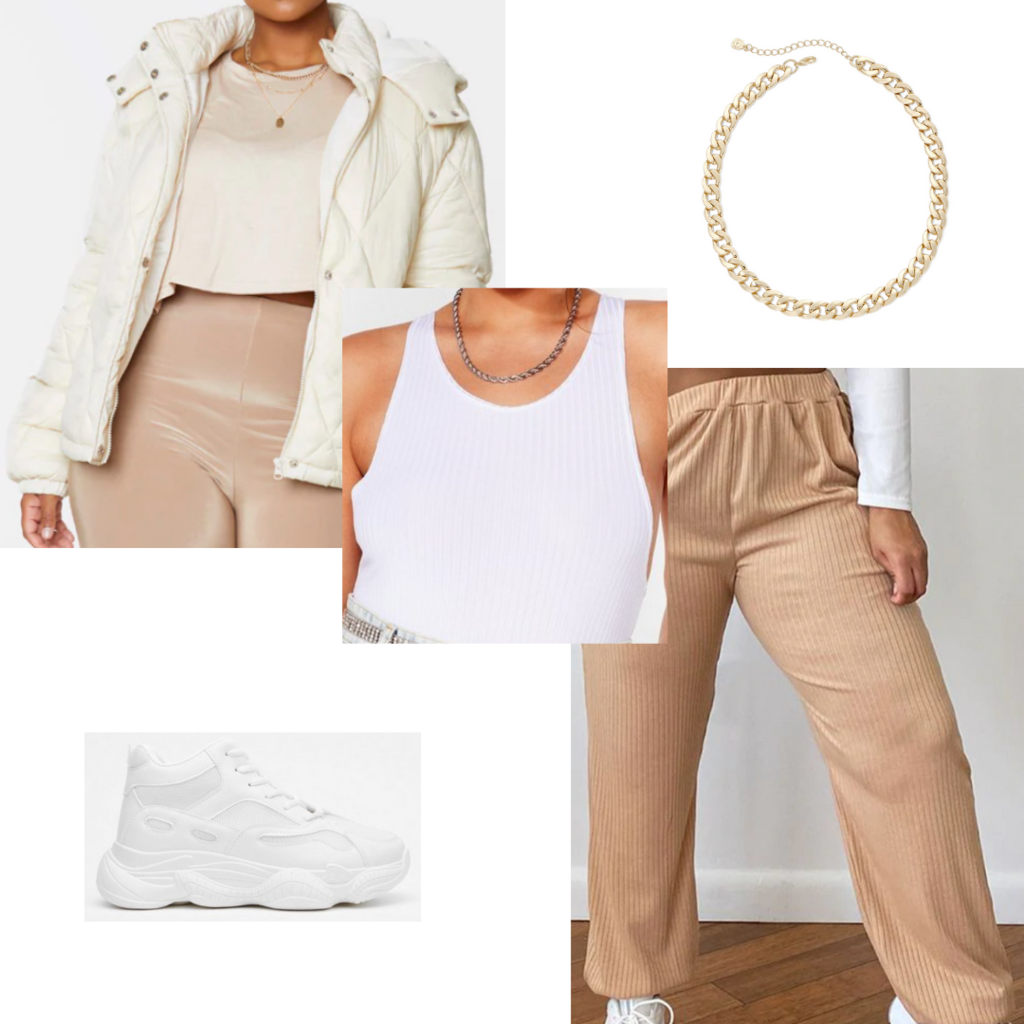 Plus size fall outfit #6: Ribbed joggers, white bodysuit, cream puffer coat, chunky sneakers, gold chain choker