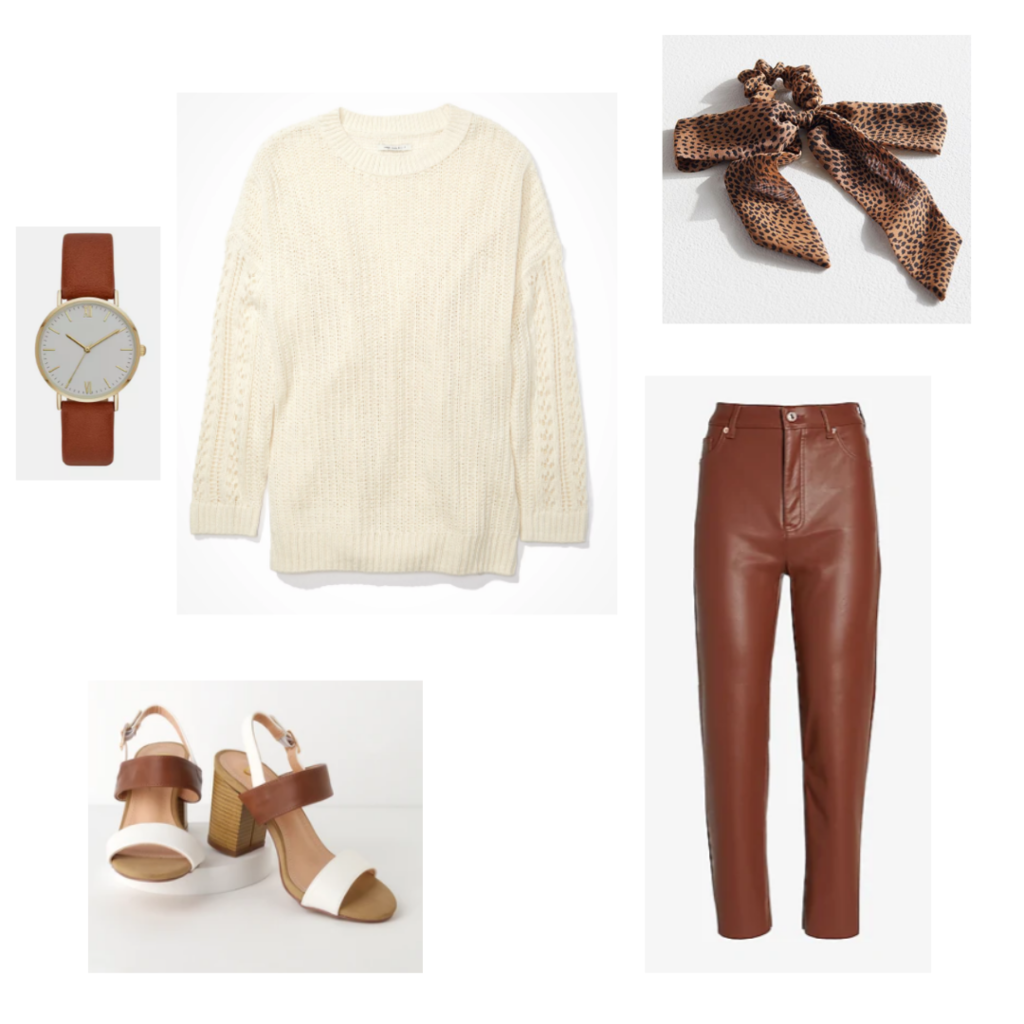 Outfit Guide 4: cream sweater, brown faux leather trousers, white and brown chunky heeled sandals, brown leather and gold watch, leopard print scrunchie