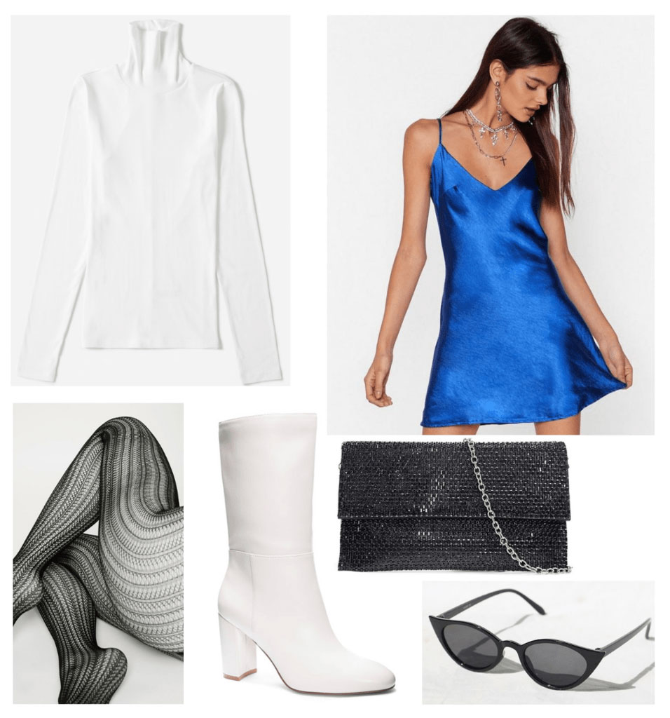 How to wear summer clothes in winter: outfit idea with slip dress, long sleeve tee, white boots, tights, sunglasses