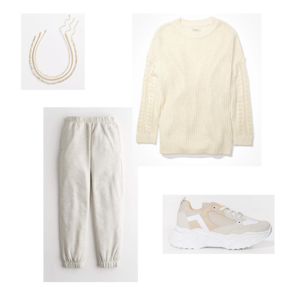 Outfit Guide 7: cream sweater, grey sweatpants, chunky neutral sneakers, layered gold chain necklace