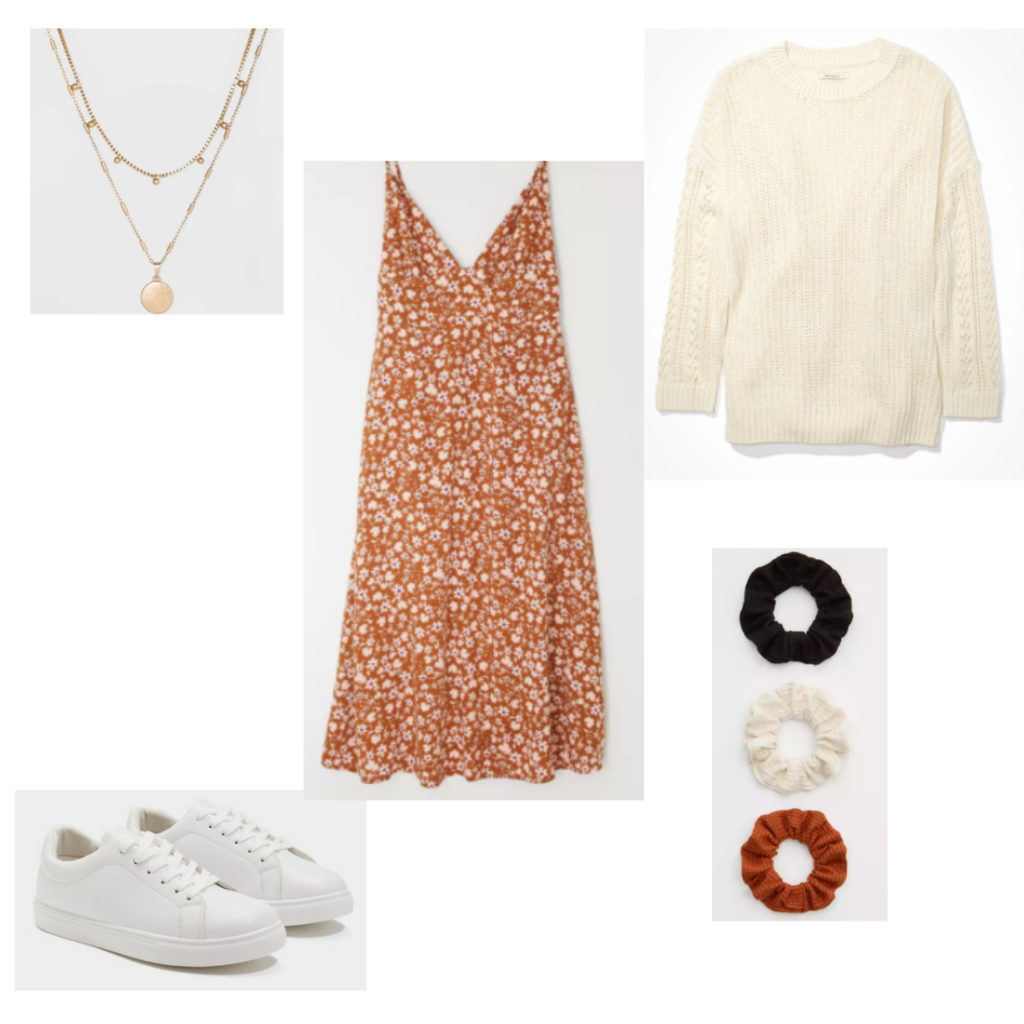 Outfit Guide 1: cream sweater, orange floral print dress, scrunchies, gold layered necklace