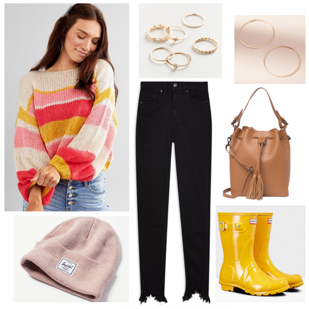 Emily in Paris fashion - sweater outfit with striped sweater, black jeans, yellow boots, beanie hat