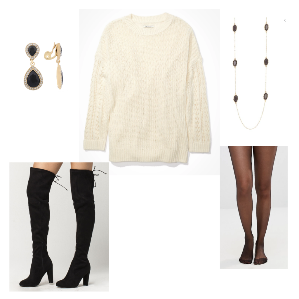 Outfit Guide 5: cream sweater, sheer black tights, thigh high black boots, black and gold jewelry