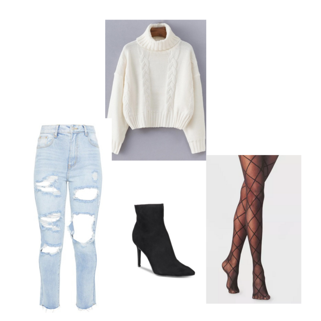 Set 6: ripped jeans, sheer stockings with bow pattern, black heeled booties, white sweater