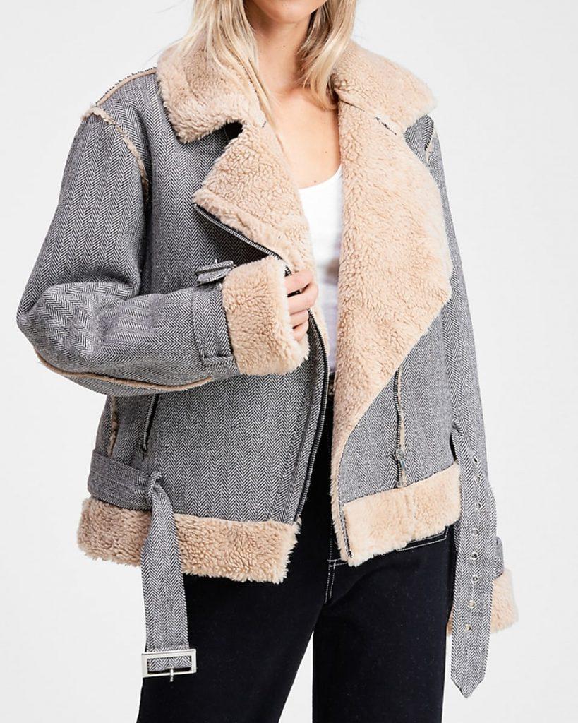 grey houndstooth shearling moto jacket