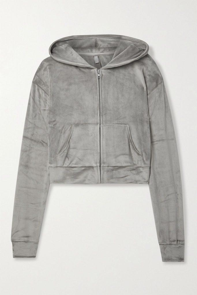 SKIMS cozy velour hoodie in grey, color trends 2021