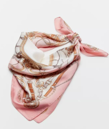 Pink and white paisley silk scarf