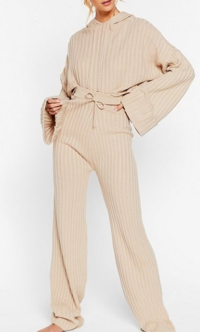 matching cream hoodie and pants loungewear set