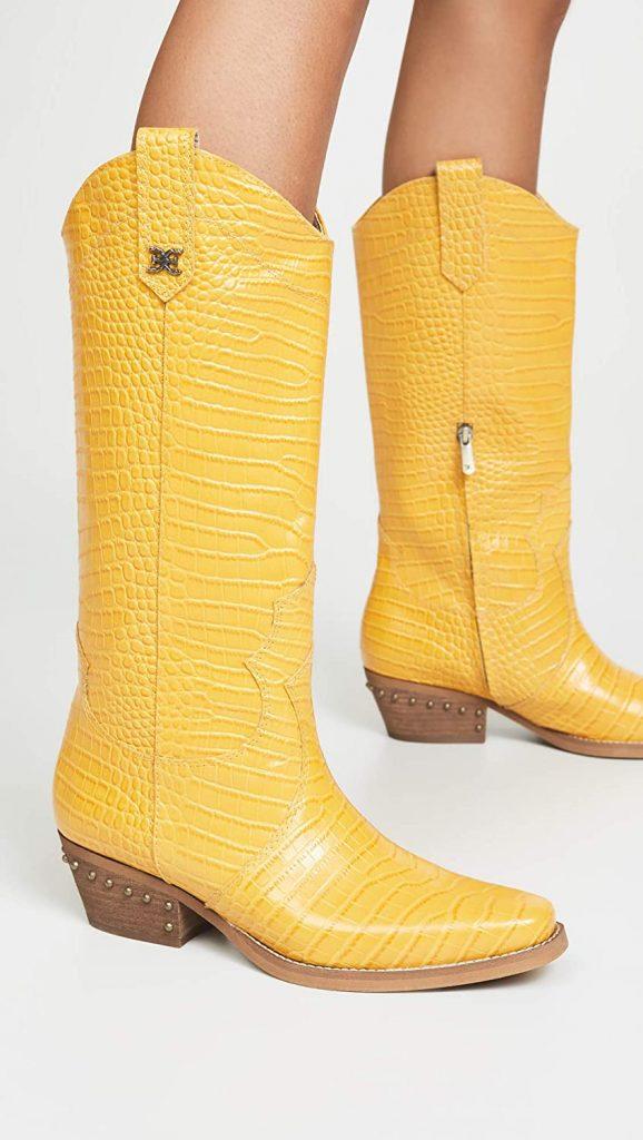 Sam Edleman cowboy boot in bright yellow