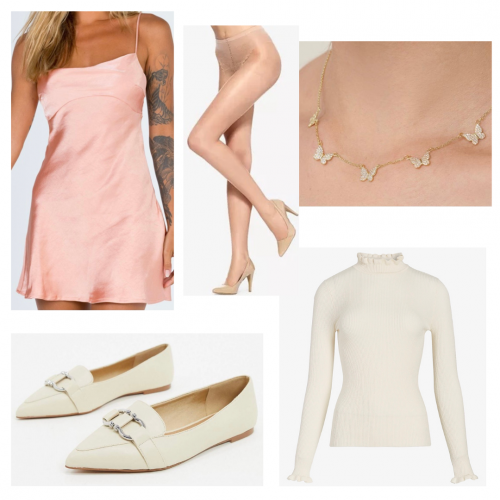Outfit set featuring a pink dress and white turtleneck