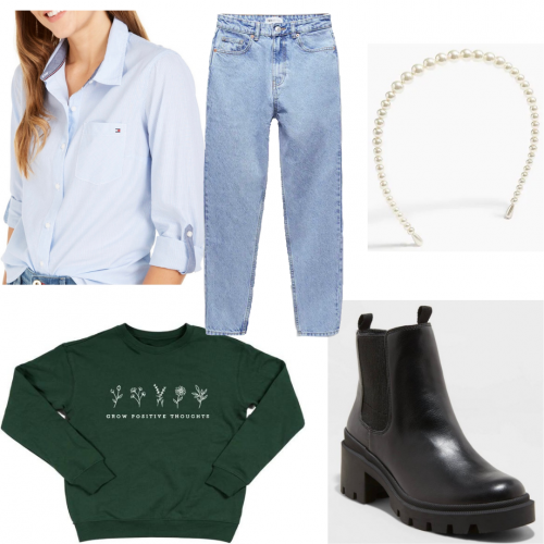 Outfit set featuring a crewneck sweathirt and a button down shirt