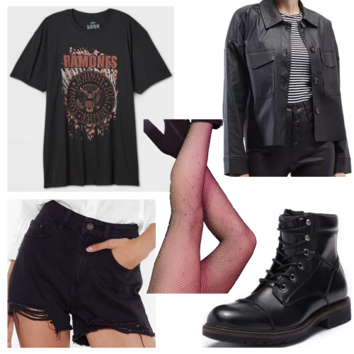 Outfit set featuring a graphic tee, shorts, and tights