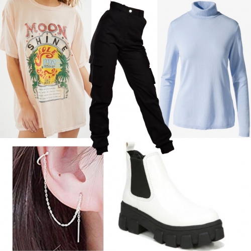 Outfit set featuring a graphic tee and a turtleneck sweater