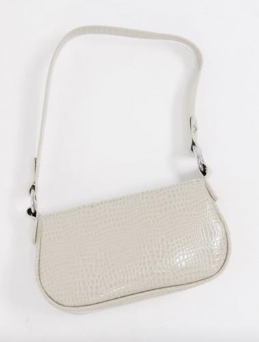 2021 trends: white crocodile shoulder bag