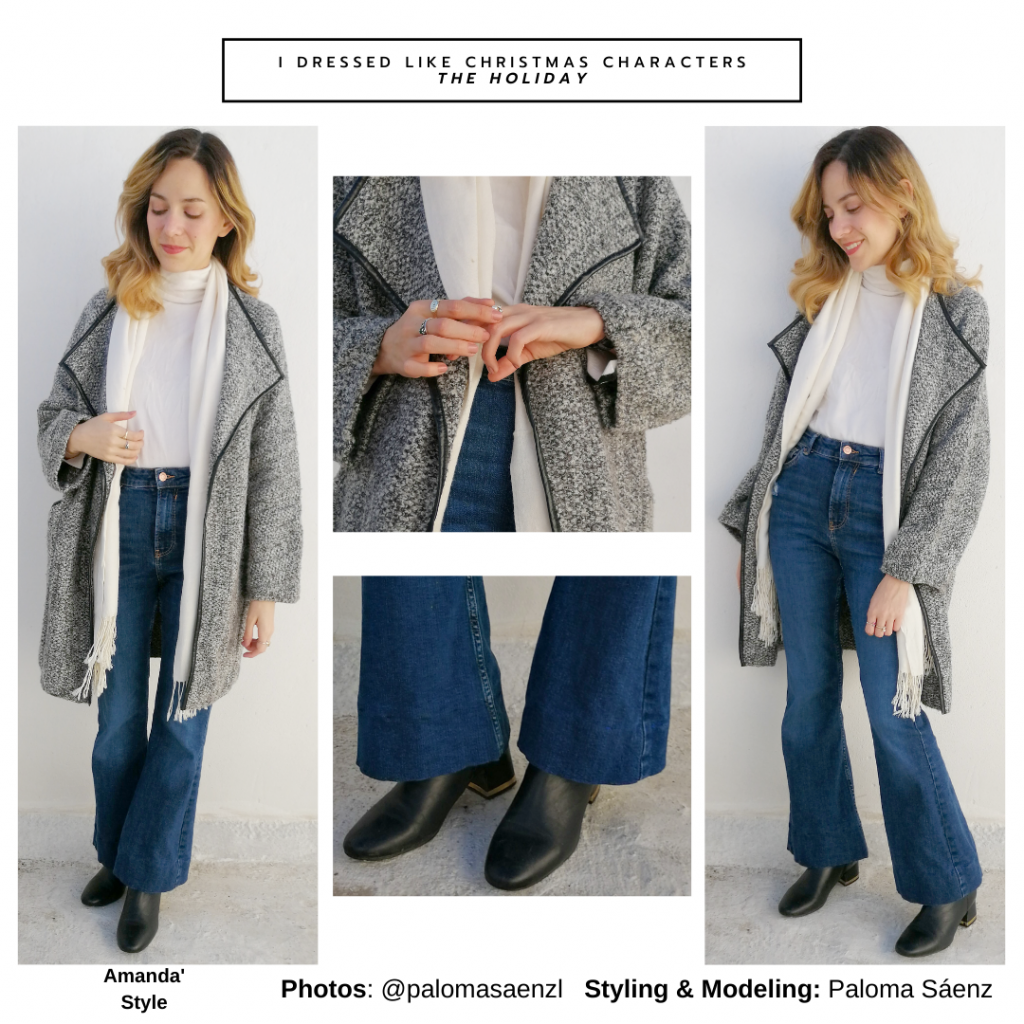 Outfit inspired by Amanda from The Holiday - wide leg jeans, black boots, cream turtleneck, oversized sweater