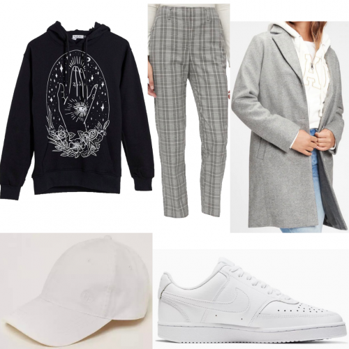 Outfit set featuring a graphic sweatshirt and coat