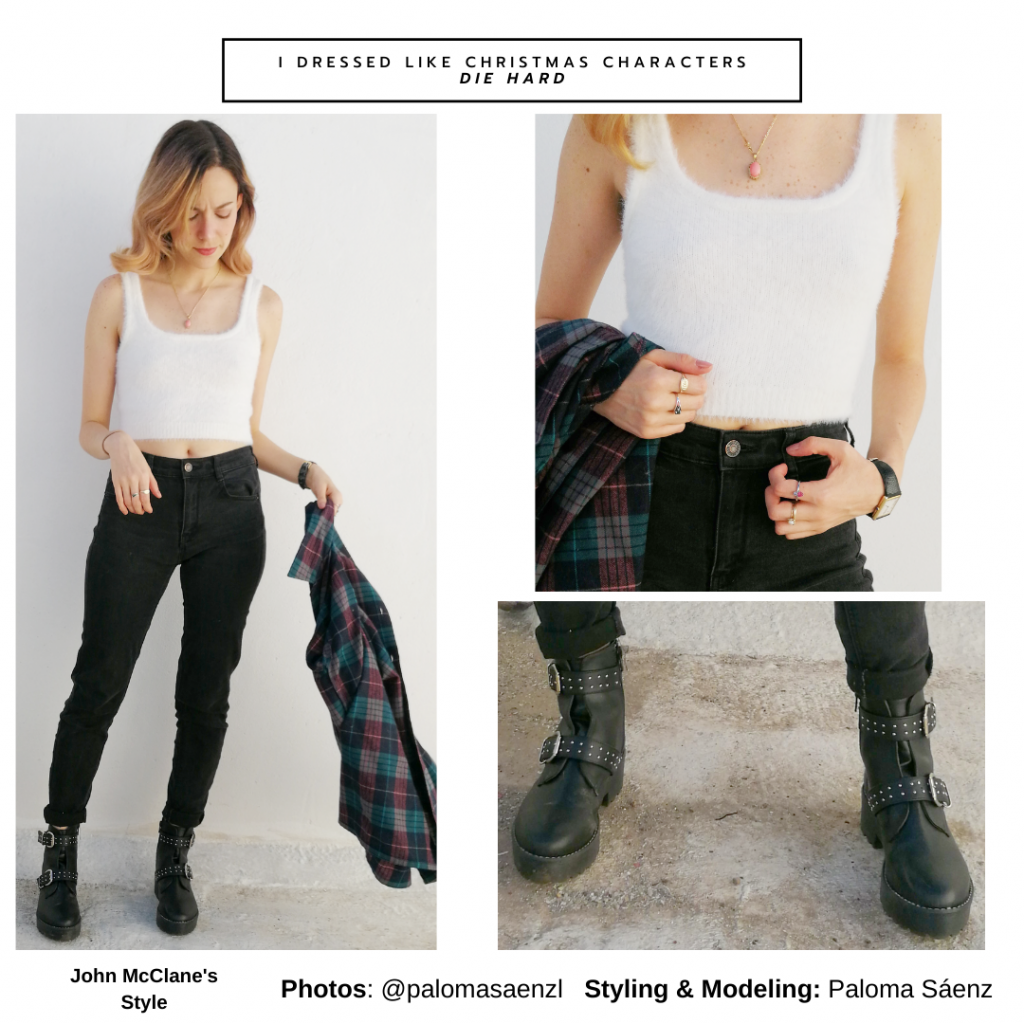 Christmas movie outfit inspired by John Mcclane's style in Die Hard - chunky black boots, skinny jeans, plaid shirt