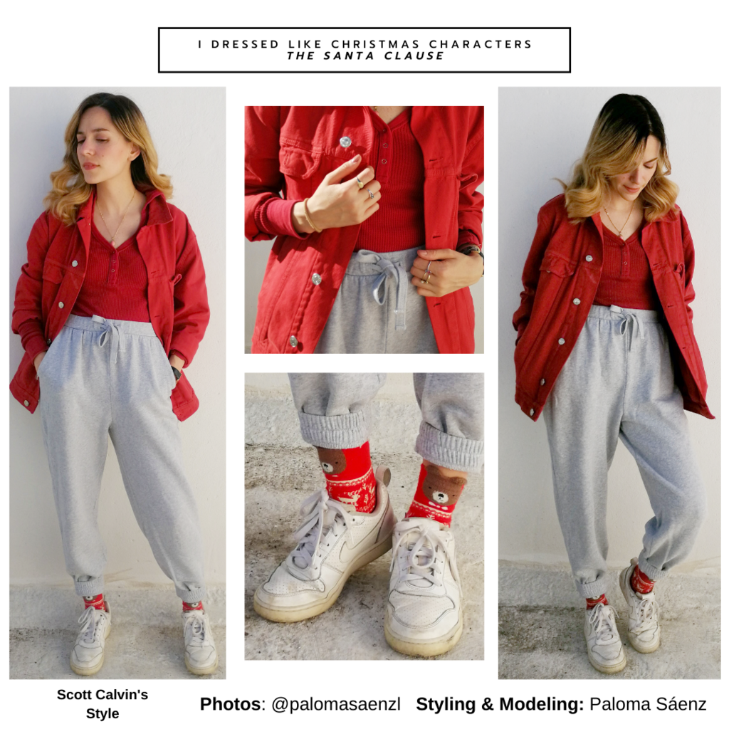 Christmas movie outfit inspired by Scott Calvin from The Santa Clause - gray sweatpants, red button down shirt, red sweater, Christmas socks, Nikes