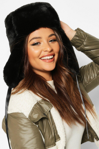 Faux fur trapper hat in black - cutest ski fashion finds of the year