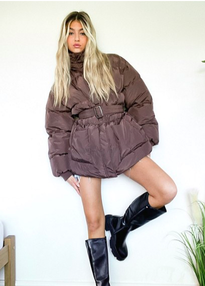 Brown belted puffer coat