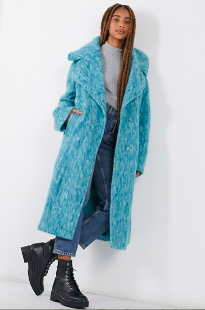 Maxi trench coat in blue