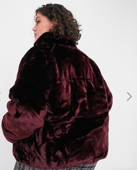 Plus faux fur puffer coat in burgundy