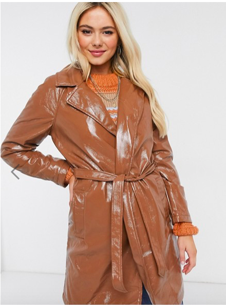 Asos belted trench in camel leather