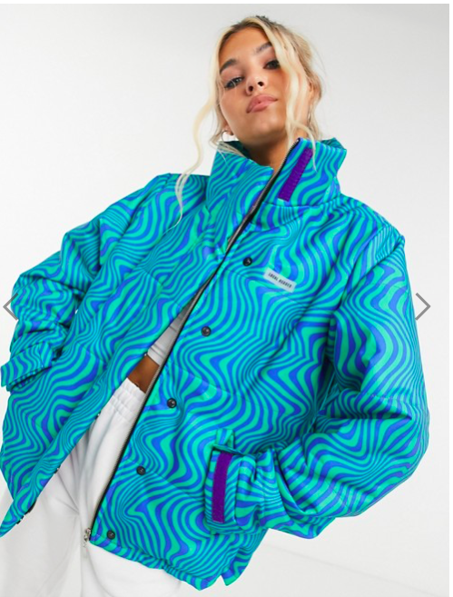 Patterned green and blue puffer coat