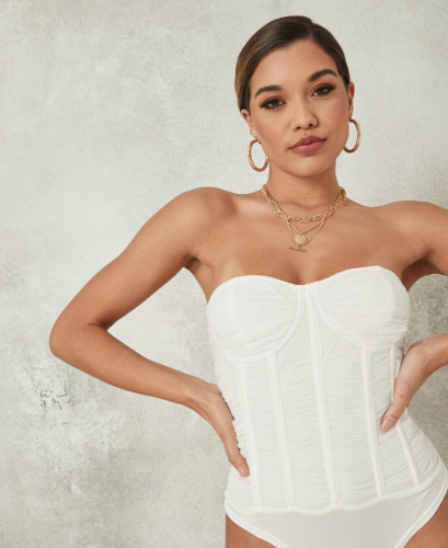 New years eve fashion: Missguided White Ruched Corset Bodysuit