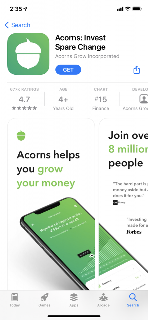 Acorns app screenshot