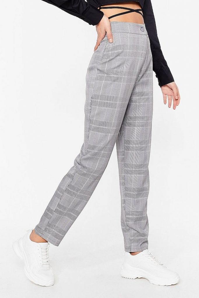 Grey houndstooth plaid trouser pants