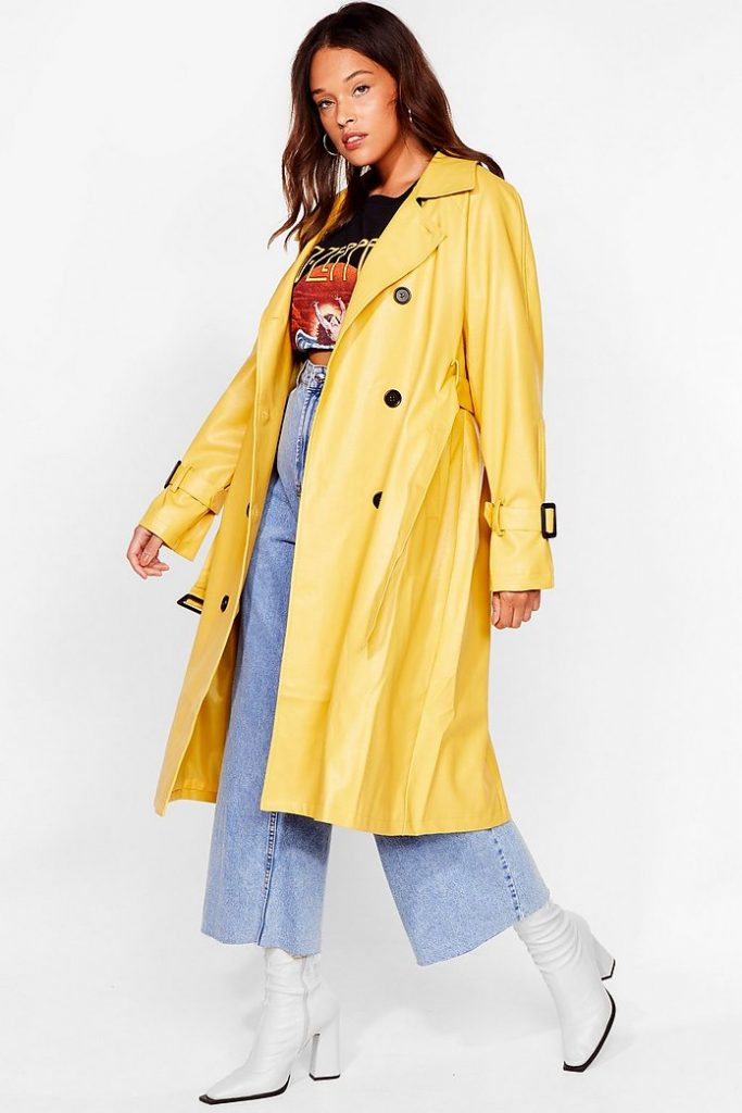Yellow trench coat from Nasty Gal, color trends 2021