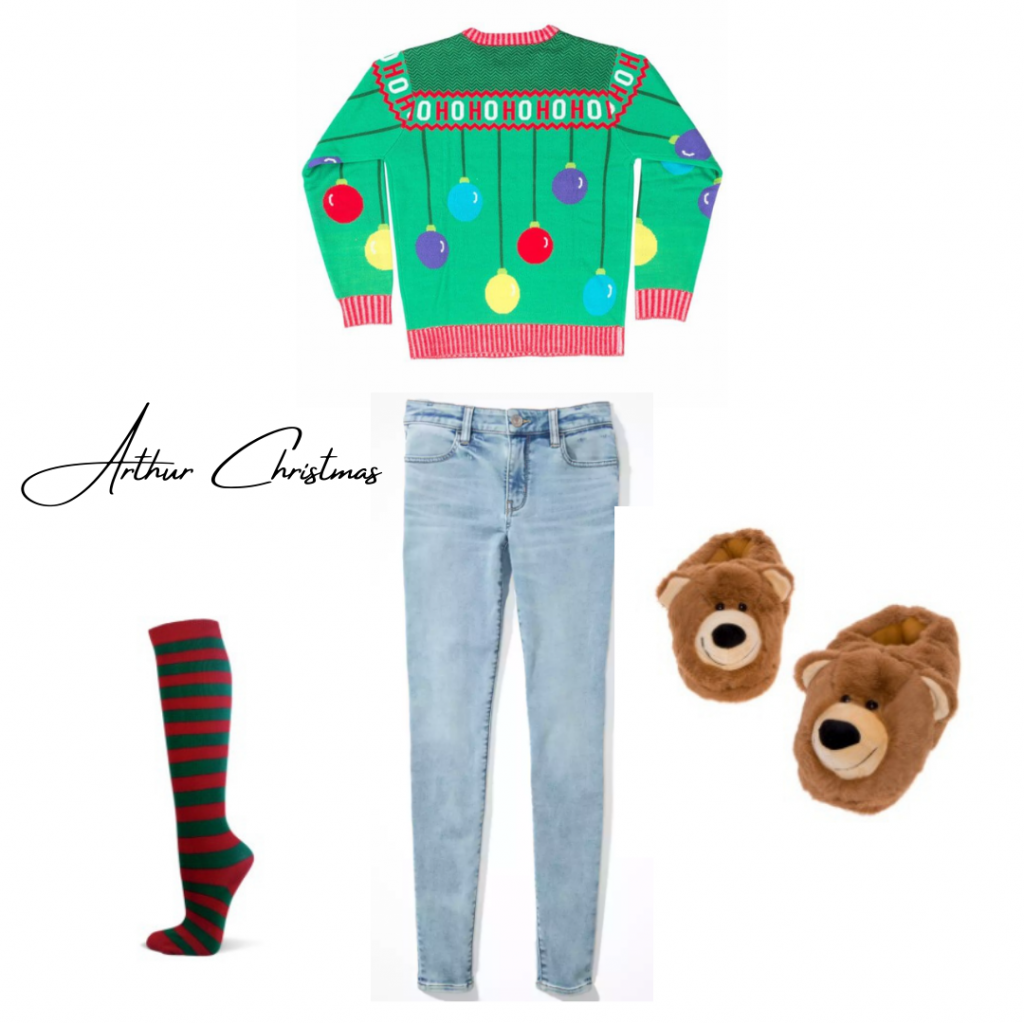 Arthur chrismas inspired outfit: christmas sweater with blue jeans, bear slippers,