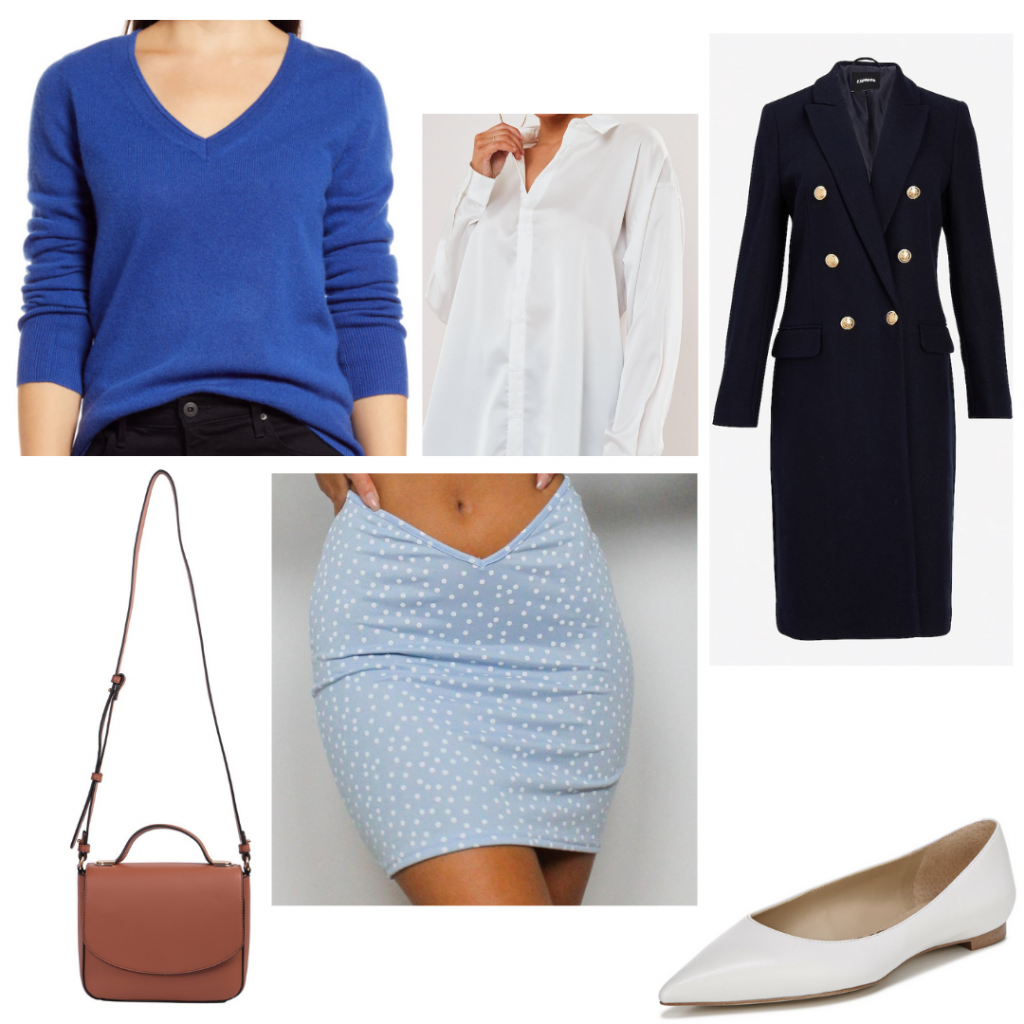Princess Diana outfit inspired by her fashion sense on The Crown: Paparazzi photo look with blue polka dot skirt, royal blue v-neck sweater, white button-down shirt, double breasted navy coat, camel cross-body bag, white flats