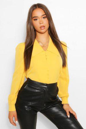 oversized collar yellow blouse