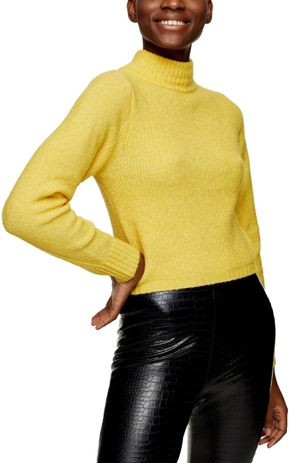 Topshop canary yellow turtleneck sweater