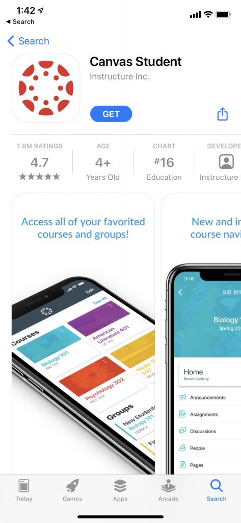 Canvas Student app screenshot