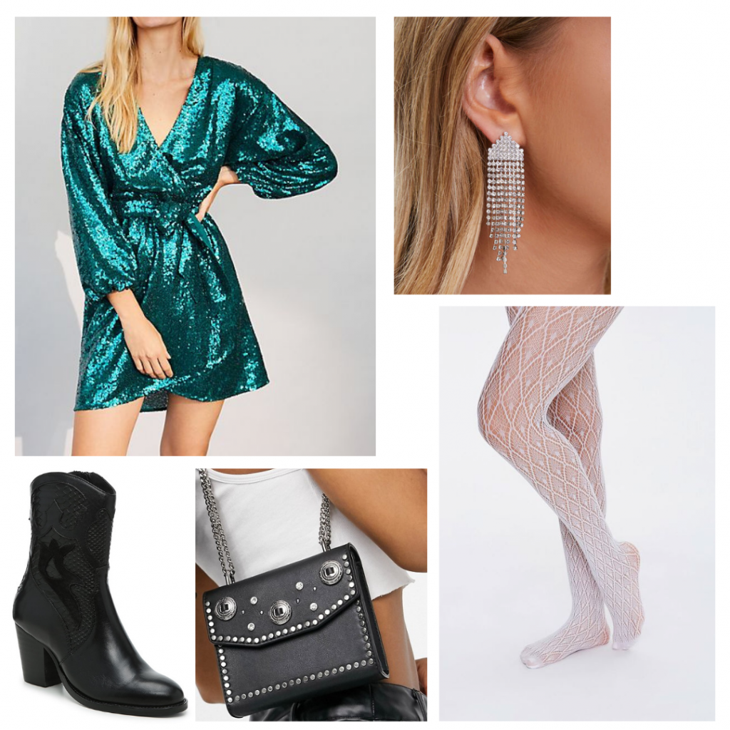 Chic New Year's eve outfit for 2020: Green glitter sequin dress, white patterned tights, black ankle boots, embellished purse, glitter earrings