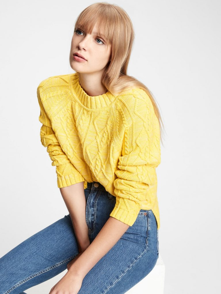 cableknit yellow crew neck sweater