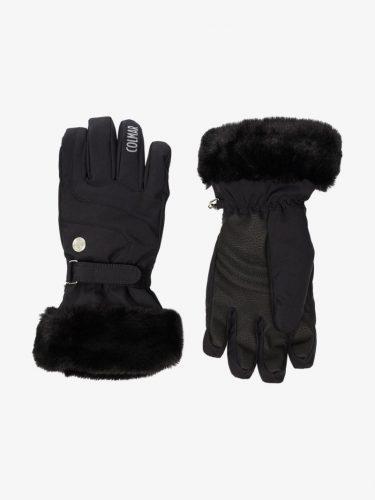 Ski fashion finds - faux fur embellished black ski gloves