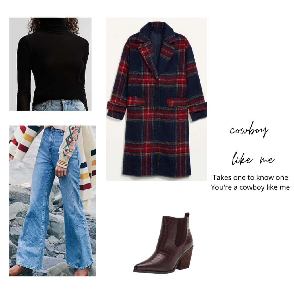 Taylor Swift evermore outfit inspired by the film Cowboy Like Me -- outfit with wide leg jeans, black turtleneck, plaid coat, ankle boots