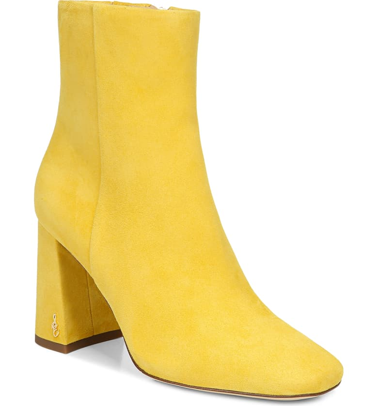 Yellow booties with chunky heels, color trends 2021