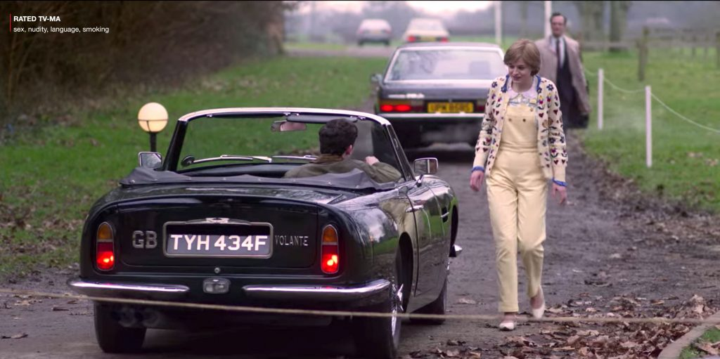 Princess Diana in yellow overalls for a scene in The Crown